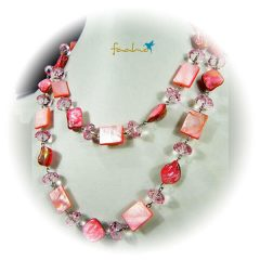 Halskette Perlmutt Rosé