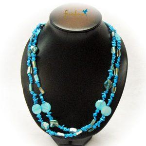 Halskette Perlmutt Türkis